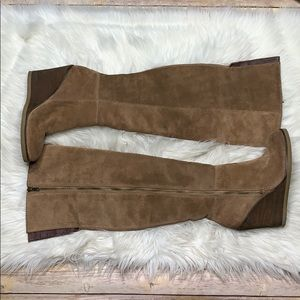 Brown Lucky Brand Suede over the knee wedge Boots